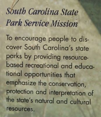 Welcome to Baker Creek State Park Marker -<br>South Carolina State Park Service Mission image. Click for full size.