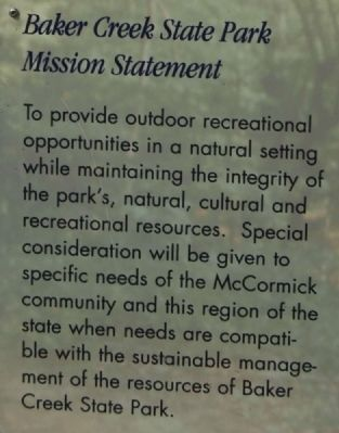 Welcome to Baker Creek State Park Marker -<br>Baker Creek State Park Mission Statement image. Click for full size.