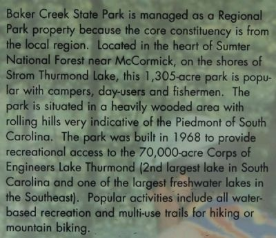 Welcome to Baker Creek State Park Marker image. Click for full size.