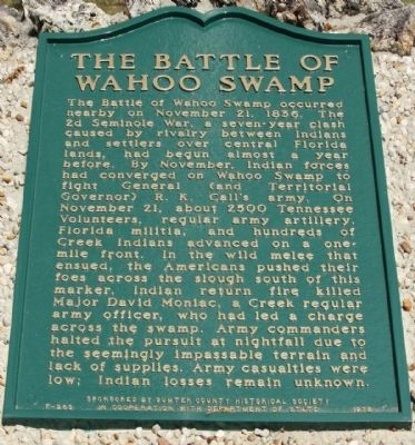 The Battle of Wahoo Swamp Marker image. Click for full size.