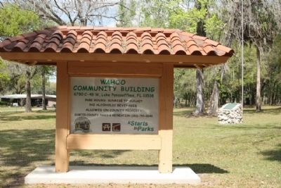 The Battle of Wahoo Swamp Marker is located in the Wahoo Community Building Park image. Click for full size.