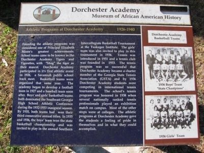 Athletic Programs at Dorchester Academy 1926-1940 Marker image. Click for full size.