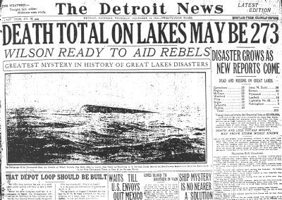 Cover of the Detroit News, Nov. 13, 1913 image. Click for full size.