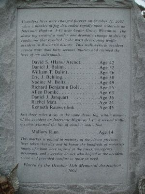 October 11th Memorial Marker image. Click for full size.