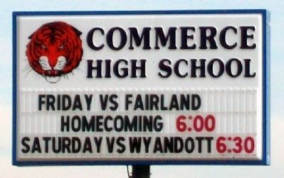 Commerce High School Sign image. Click for full size.
