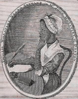 Phillis Wheatley, as illustrated by Scipio Moorhead in the Frontispiece to her book image. Click for full size.