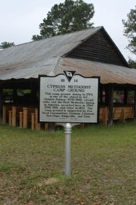 "Cypress Methodist Camp Ground Marker with the ""tabernacle,"" the open-sided shelter image. Click for full size."