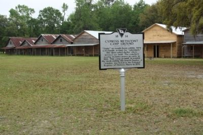 Cypress Methodist Camp Ground Marker, located in the center of the campground image. Click for full size.