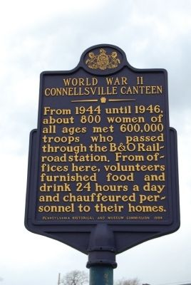 World War II Connellsville Canteen Marker image. Click for full size.