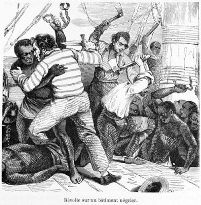 Revolt Aboard Slave Ship, 19th cent. image. Click for full size.