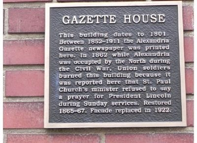 Gazette House Marker image. Click for full size.