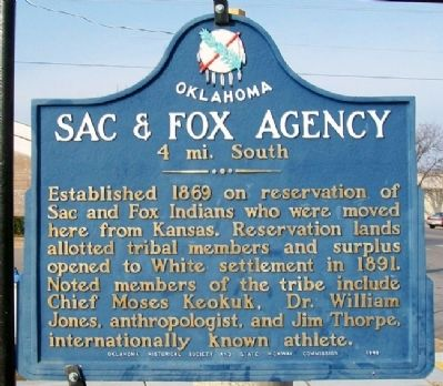 Sac & Fox Agency Marker image. Click for full size.