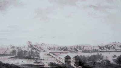 A Depiction of Richmond and Mayo's Bridge from Manchester image. Click for full size.