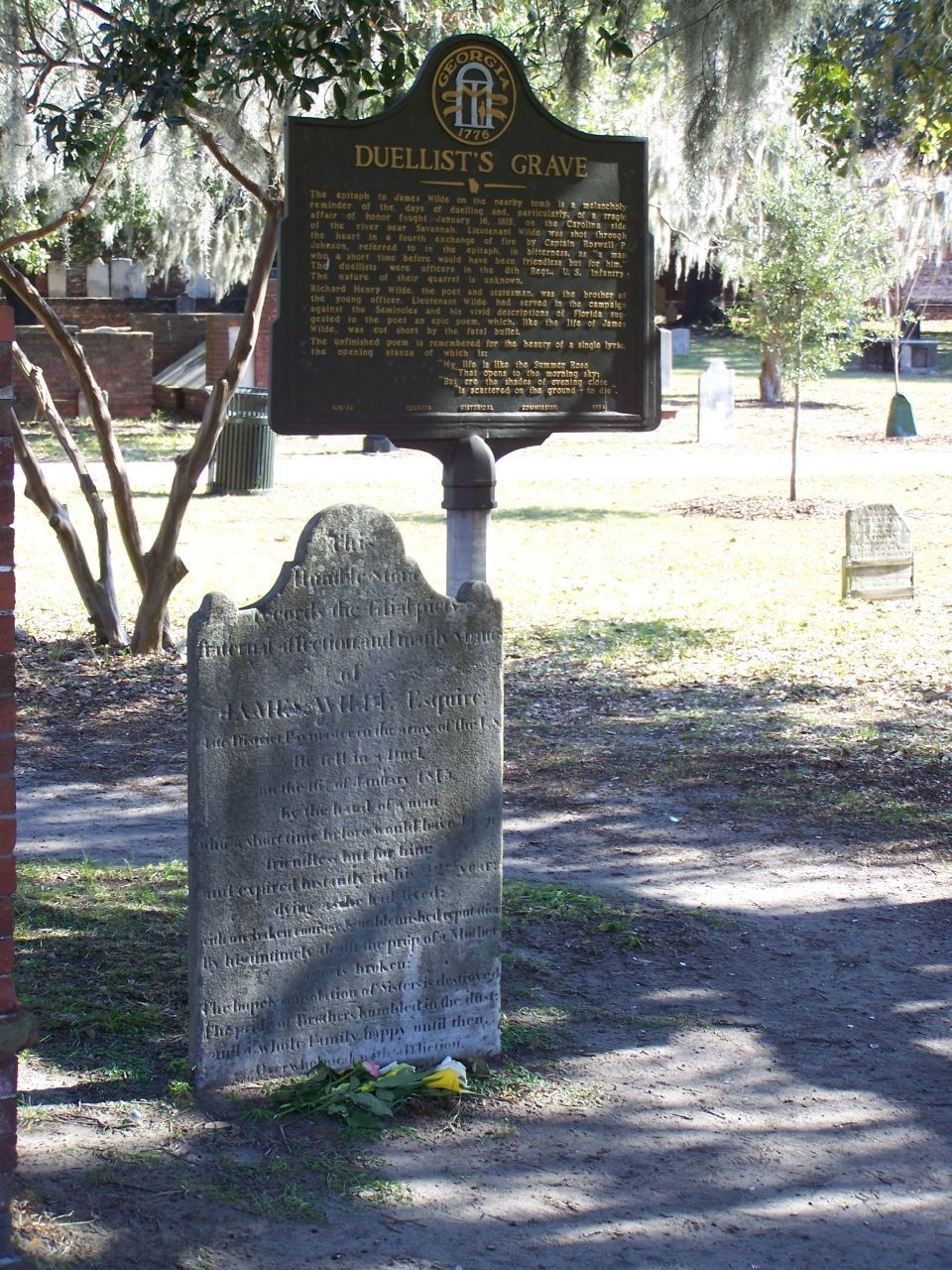 Colonial Park , Headstone for Lieutenant Wilde near the Duellist