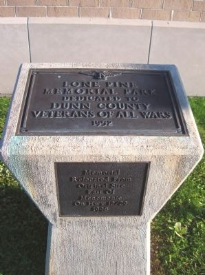 Dunn County Veterans Memorial Marker image. Click for full size.