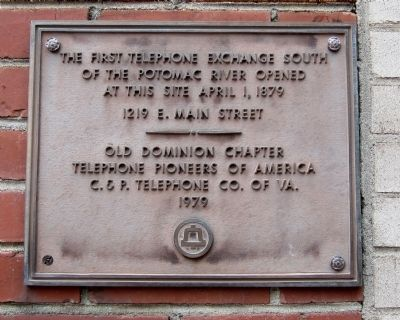 The First Telephone Exchange South of the Potomac River Marker image. Click for full size.