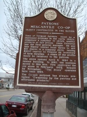 Patrons' Mercantile Co-op Marker image. Click for full size.