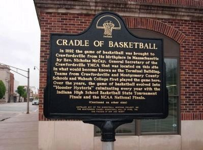 "(Side ""A"") - - Cradle of Basketball Marker image. Click for full size."