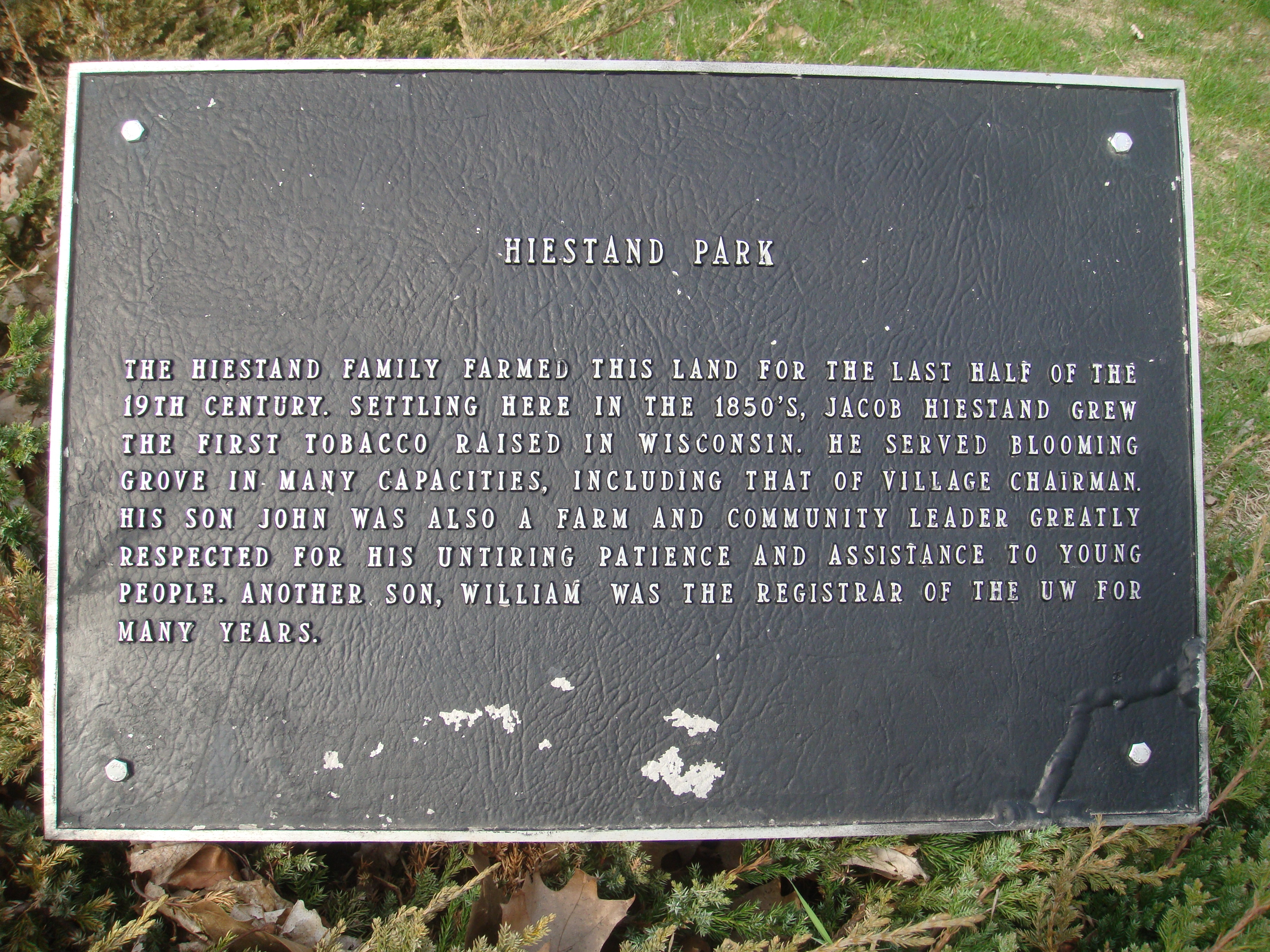 Hiestand Park Marker