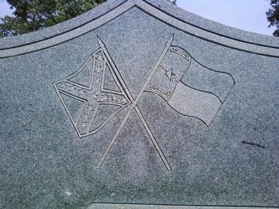 Crossed flags on the North Carolina Troops Marker image. Click for full size.