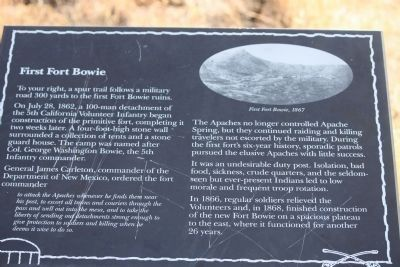 The First Fort Bowie Marker image. Click for full size.