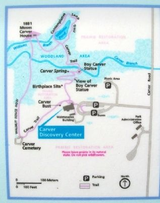 Map on George Washington Carver NM Marker image. Click for full size.