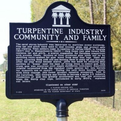 Turpentine Industry Community and Family Marker image. Click for full size.