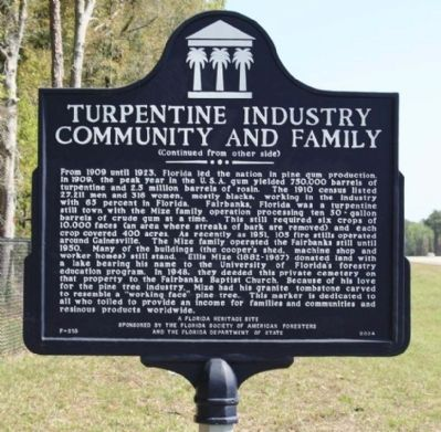 Turpentine Industry Community and Family Marker, reverse side image. Click for full size.