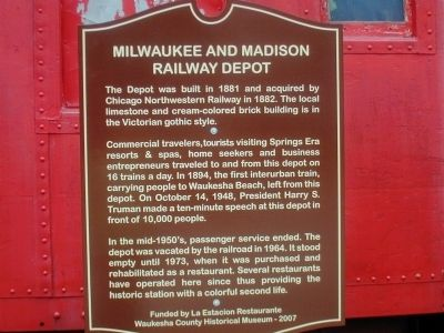 Milwaukee and Madison Railway Depot Marker image. Click for full size.