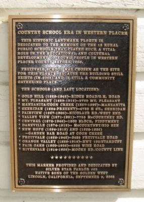 Country School Era in Western Placer Marker image. Click for full size.