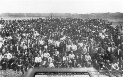 The Pressed Steel Car Company strikers meeting at McKees Rocks, PA. image. Click for full size.