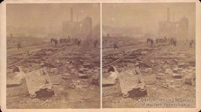 Ruins of the Shops at 27th Street following the railroad strike riots in Pittsburgh. image. Click for full size.
