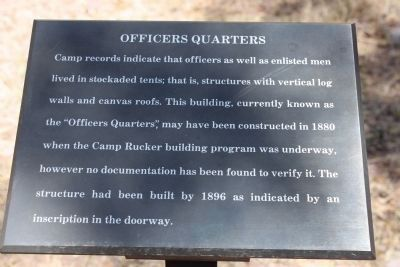 Sign for Officers Quarters image. Click for full size.
