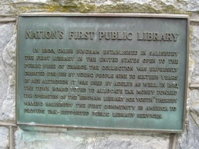 Nation's First Public Library Marker image. Click for full size.