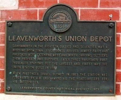 Leavenworth's Union Depot Marker image. Click for full size.