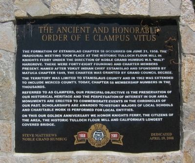 The Ancient and Honorable Order of E Clampus Vitus Marker image. Click for full size.