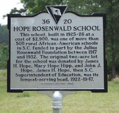Hope Rosenwald School Marker image. Click for full size.