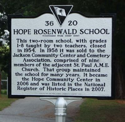 Hope Rosenwald School Marker, reverse side image. Click for full size.