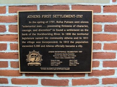 Athens First Settlement - 1797 Marker image. Click for full size.