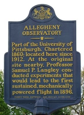 Allegheny Observatory Marker image. Click for full size.