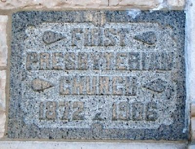 First Presbyterian Church Cornerstone image. Click for full size.