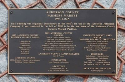 Anderson County Farmers Market Pavilion Marker image. Click for full size.