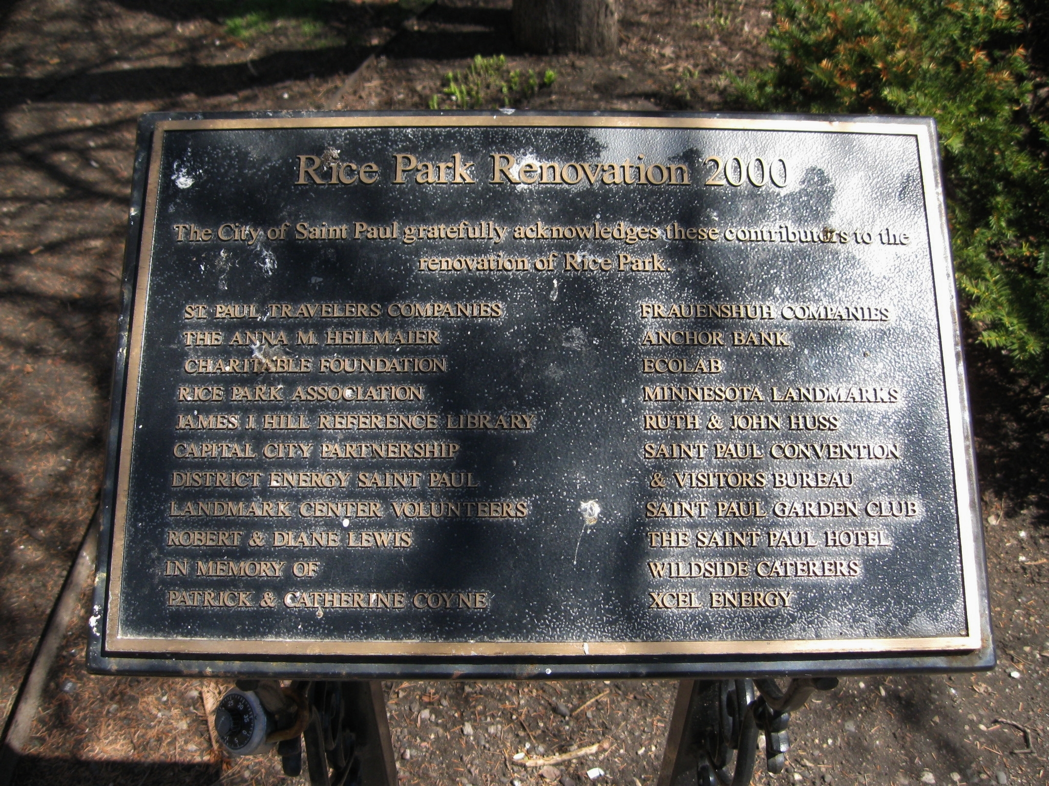 Rice Park Renovation 2000 Donor Plaque