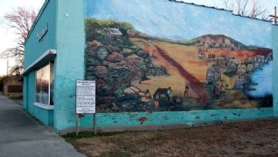 Osage Indian Village Mural and Marker image. Click for full size.