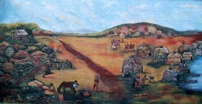 Osage Indian Village Mural image. Click for full size.