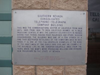 Southern Nevada Consolidated Telephone-Telegraph Company Building Marker image. Click for full size.