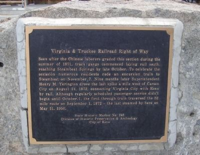 Virginia & Truckee Railroad Right of Way Marker image. Click for full size.
