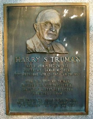 Harry S. Truman Marker image. Click for full size.