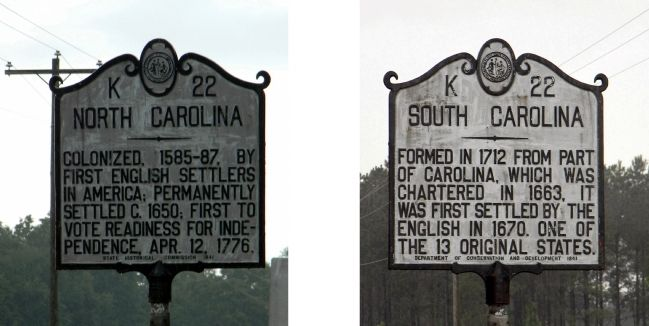 North Carolina / South Carolina Marker image. Click for full size.
