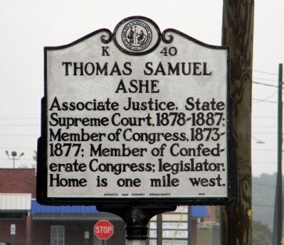 Thomas Samuel Ashe Marker image. Click for full size.